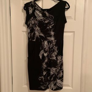 BCBG black and white floral dress NWT